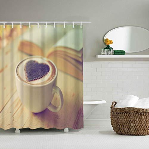YLXINGMU 3D Duschvorhang Mehltaubeweis Waschbar Kaffeetasse Familienbadezimmer Polyestermaterial...
