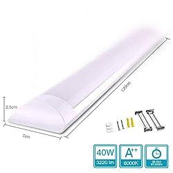 Specilights 40W LED Deckenleuchte LED Röhren Lineare Lampe 120CM [Energieklasse A++] 120° Weitwinkelstrahl Inklusive Montagehalterungen und Schrauben ... (6000k)
