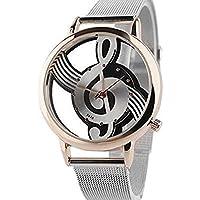 Joyfeel Buy - Reloj de pulsera unisex con correa de malla, diseño de personajes de música(Oro rosa)