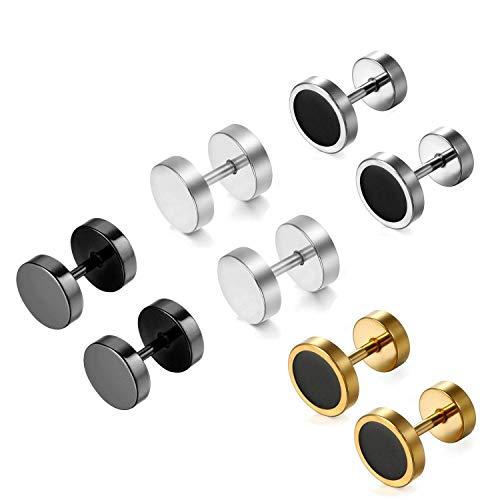 5ddc2a33f6f3 Aroncent - 8 piezas de dilatadores de oreja falsos de acero inoxidable para  hombre