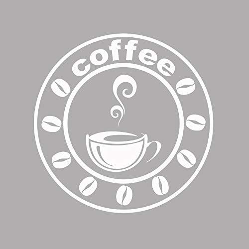 guijiumai Kaffee Wandtattoo Fenster Zeichen Vinyl Aufkleber Moderne Cafe Logo Kunst Dekorationen Für Coffee Bar Shop Home Esszimmer Küche grau 42X42 cm