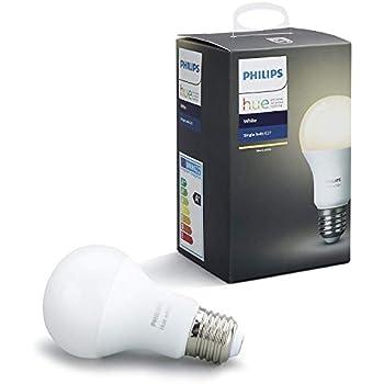 Philips Hue White - Bombilla LED E27 Individual, 9.5 W, Iluminación Inteligente, Luz Blanca Cálida Regulable, Compatible con Amazon Alexa, Apple Homekit y ...