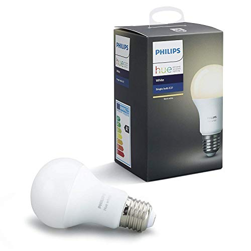 Philips Hue White - Bombilla LED E27 Individual, 9.5 W, Iluminación Inteligente, Luz Blanca Cálida Regulable, Compatible con Amazon Alexa, Apple Homekit y Google Assistant)