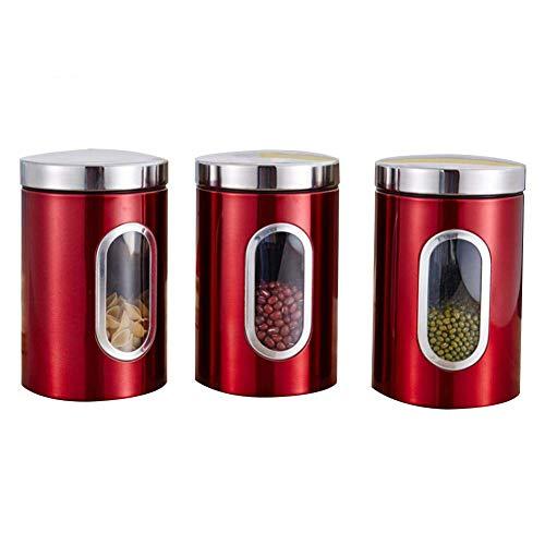 WLdehong WPZ Vorratsdosen 3 Pcs Dosenset Aus Edelstahl Mit Sichtfenster Luftdichte Behälter 1.5 L Tee Kaffee Zucker Kanister Set Kaffeedose Für Küche (Red)