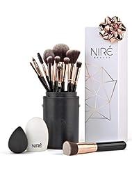 Niré Beauty Kit Artiste : Pinceaux de Maquillage et Leur Étuis de Rangement et en Cadeau un Beautyblender + Une Brosse Nettoyante Pinceaux