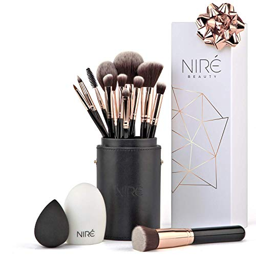 Niré Beauty Artistry Makeup brush set: Vegan Makeup Brushes with Makeup Brush Holder, Niré Beauty Blender and Brush Cleaner