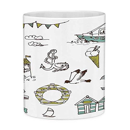 Nautische Badeanzüge (Bleifreie Keramik Kaffeetasse Teetasse Weiß Nautisch 11 Unzen Lustige Kaffeetasse Marine Elements Fisch Leuchtturm Anker Schiff Badeanzug Möwen Rettungsring Print Hellgrün Gelb)