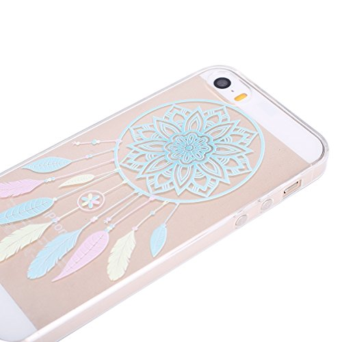 Hülle für iPhone SE, Case Cover für iPhone 5 5S SE [Scratch-Resistant] , ISAKEN Ultra Slim Perfect Fit Malerei Muster TPU Silikon Clear Transparent Protective Rückseite Back Hülle Hüllen Beschützer Ha Dream Catcher
