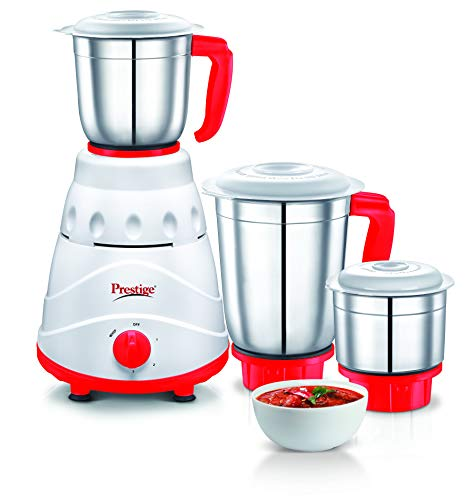 Prestige Viva 550-Watt Mixer Grinder with 3 Jars (Red)