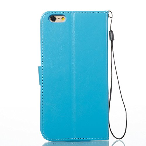 iPhone 6 Plus/6S Plus Coque, Voguecase Étui en cuir synthétique chic avec fonction support pratique pour Apple iPhone 6 Plus/6S Plus 5.5 (Papillons VI-Papillons orange/Pink)de Gratuit stylet l'écran a Papillons VI-Papillons rose/Bleu