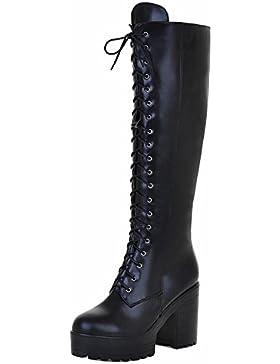 TAOFFEN Donne Moda Stivali Lunghi Con Cerniera