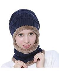 EREACH Cappello Invernale Uomo Berretto Uomo in Maglia con Sciarpa Inverno  Caldo Cappello e Scaldacollo Set 98002b693e56