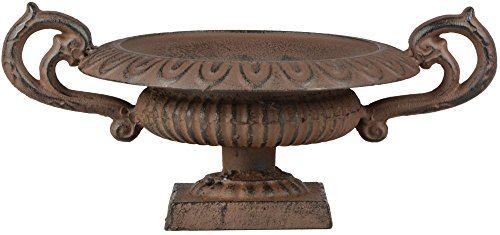 Esschert Design Französische Vase mit Griffen, 29 x 20 x 13 cm, aus Gusseisen, niedrig, Größe S, Blumenvase, Pflanzenvase, Stabiler Stand, Gartendekor
