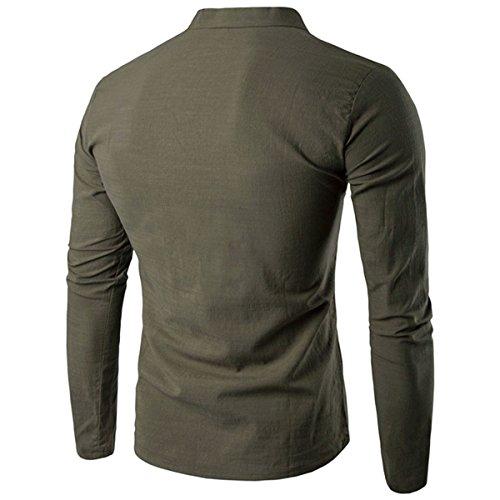 donhobo Herren Langarm Shirt Henley Slim Fit Lässige Long Sleeve T-Shirt 01Grün