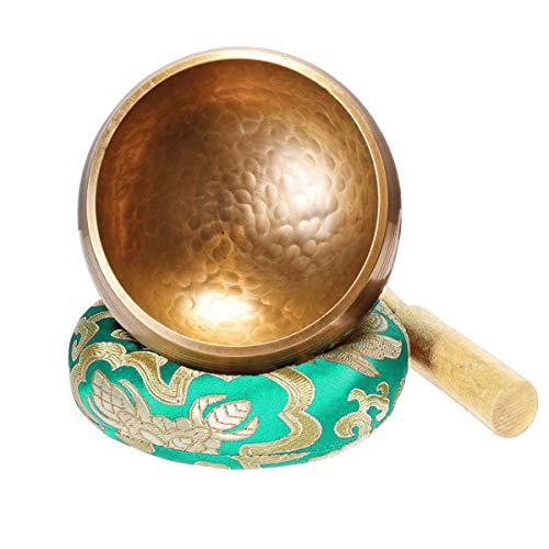 Klangschale 8cm Klangschalen Set klein mit Holz Klöppel und Klangschalenkissen Meditation Klangtherapie Achtsamkeit Aufmerksamkeit - Grün-Gelb - Keliti