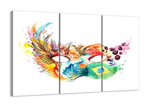 Bild auf Leinwand - Leinwandbilder - DREI Teile - Breite: 165cm, Höhe: 110cm - Bildnummer 3036 - dreiteilig - mehrteilig - zum Aufhängen bereit - Bilder - Kunstdruck - - Rio Karneval Kostüm Bilder