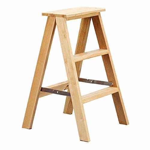 CAIJUN Klappleiter Hocker Multifunktion Tragbar Dual-Use 3 Schritte Stuhl Regal Eiche 2 Farben Höhe 71 cm Belastbarkeit 250kg Klappstufen (Farbe : Holzfarbe) - Bambus-eiche-stuhl