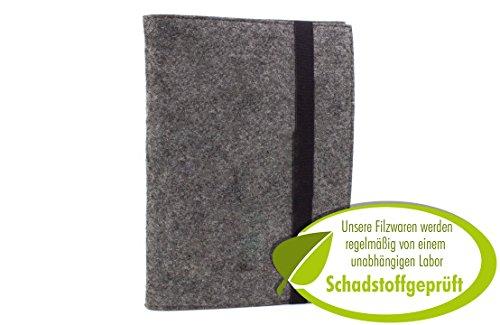 Edles Filz Notizbuch in dunkelgrau, A5 kariert 50 Seiten Notizblock, edler Einband oder Umschlag als Hefteinband oder Hülle geeignet