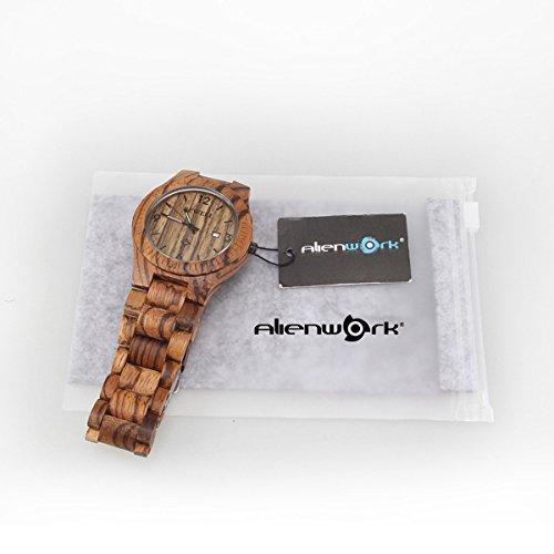 41gtfabajhL - Alienwork Reloj Unisex Relojes Hombre Mujer Madera Zebrano marrón Analógicos Cuarzo Calendario Fecha Impermeable Madera Natural