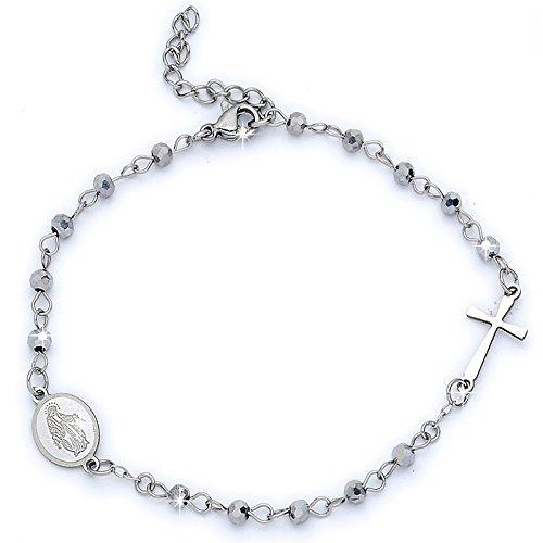 Damen und Unisex Rosenkranz-Mit und ohne Kristallen aus Edelstahl-verschiedene Farben-Größe verstellbar-Kreuz und Madonna Cristalli Natural ()