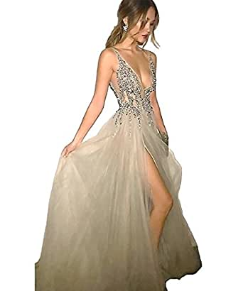 Lovelybride Herrlich tiefem V-Ausschnitt grau Party Kleid Pailletten ...