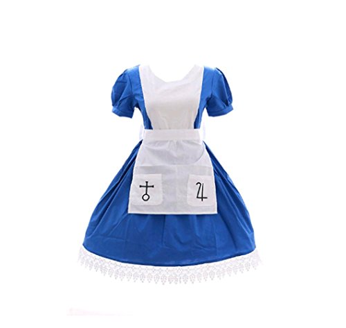qingning Unisex Alicee Madness Return Cosplay Kostüme Kleid Maid Zimmermädchen Rock Lolitta Sexy Dress Skirt (Blau, Medium)