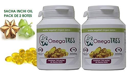 Sacha Inchi Öl Perlen, 93% pflanzliches Omega 3-6-9. Paket 2 Boote mit 120 Perlen. (2 x 120 Perlen) - 500 Mg 120 Gels