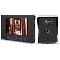 garsent Monitor de 7 Pulgadas Videoportero inalámbrico Intercomunicador Impermeable Visión Nocturna Botón táctil Tecla de Video Inteligente Teléfono de Puerta Sistema de intercomunicación(100-240v)