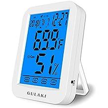 Termómetro Higrómetro Interior, Termo-higrómetro digital GULAKI con panttalla retroiluminada grande, monitorea temperatura