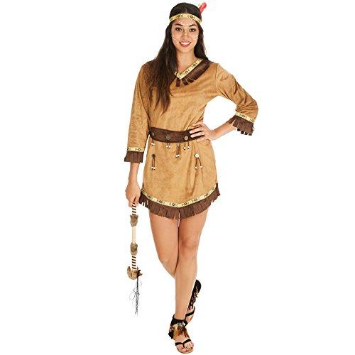 TecTake dressforfun Frauenkostüm Indianerin Apachin | Kleid + Gürtel & Haarband mit Federn | Indianer Cowboy Verkleidung (M | Nr. ()