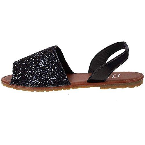 Shoebou - Bracelet Cheville Noir Pour Femme Avec Paillettes
