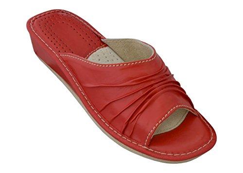 Bawal Latschen Pantolette Rot Hausschuhe Leder Damen (38, Red)
