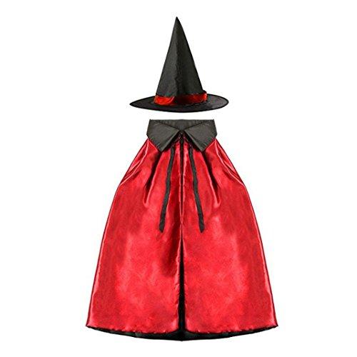 Halloween Cosplay Hexe Doppelschicht, Asnlove Erwachsene Kinder Umhang Umhang mit Hut Kindergarten Kinder-Weihnachts-Show 70CM Design Schwarz+Rot (Erwachsene Lustige Herren Kostüme)