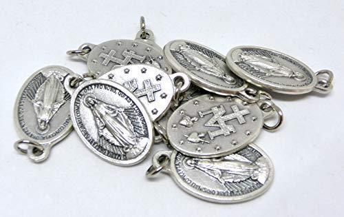 GTBITALY Lot de 10 médailles Vierge miraculeuse et logo 2 original, avec  anneau en argent b43b0fd25d0