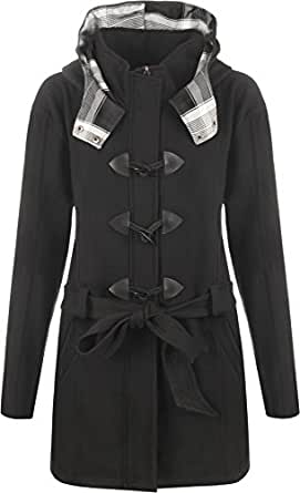 Womens Plus Size Plain Belted Hooded Toggle Ladies Jacket Duffle Coat - Black - 26-28
