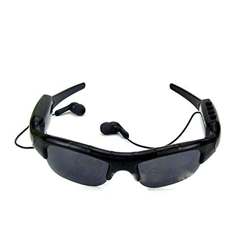 Preisvergleich Produktbild zacy psug ub-339d Sonnenbrille MP3-Player DVR Mini Kamera Camcorder Unterstützt Micro SD Karte Sonnenbrille 4GB Headset Sonnenbrille Kopfhörer Freisprecheinrichtung für iPhone Samsung Galaxy Note HTC (schwarz)