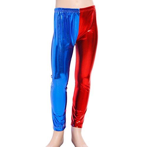 chen Selbstmord Rot&Blau Leggings Kostuem für Party Halloween Cosplay Hose S (Glänzende Mädchen Halloween-kostüm)
