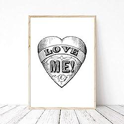 Bild Din A4 Herz Antik Love Liebe mich, Zeichnung schwarze Tusche Klassisch Zitat Motivation, Kunstdruck, Druck, Poster, Bild