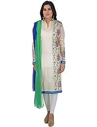 ANTARNAAD Women's Chanderi Straight Semi Stitched Dress Material (AP0232, Fawn)