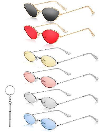 6 Stücke Kleine Metall Rahmen Ovale Sonnenbrille Kleine Katzenauge Sonnenbrille Vintage Farben Ovale Sonnenbrille und Sonnenbrille Reparieren Schraubendreher für Mädchen, Männer und Frauen