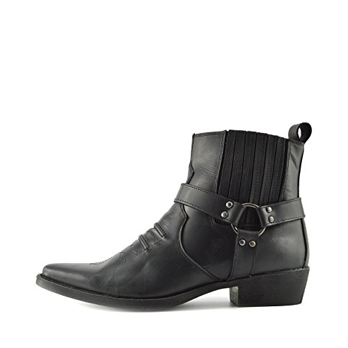 Kick Footwear - Herren Cowboy Ankle Boots Aus Leder Biker-Boots Aus Leder Toe - UK 11 / EU 45, Schwarz
