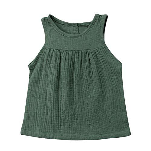 (JUTOO Kleinkind-Baby-Kind-Mädchen-Sleeveless Normallack-Geraffte Weste übersteigt beiläufige Kleidung (Grün,90))