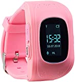 TrackerID GPS Kinderuhr: Kinder-Smartwatch mit Telefon- & SOS-Funktion, GPS-/LBS-Tracking, rosa (Smartwatch Kids)