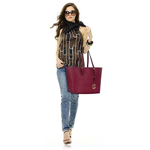 Trend Star woman designer handbag ladies fashion patent tote bag (D - Black / White) B - Burgundy