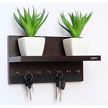 Captiver Display 7 Hook Wall Mounted Wooden Key Holders with Shelf Wenge/Decorative Multipurpose Hanging Rack