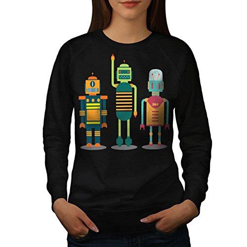 karikatur-roboter-party-kind-spa-damen-neu-schwarz-xxl-sweatshirt-wellcoda