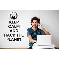 "Keep Calm and Hack The Planet–Anonymous/Globe vinyl Wall Sticker citazione, Black, Medium: 45cm x 70cm / 18"" x 28"""