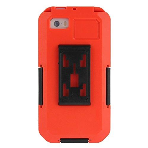 wkae Schutzhülle Case & Cover Fahrrad Wasserdicht Case mit Handschlaufe und Kordel für iPhone 5& 5S & SE rot