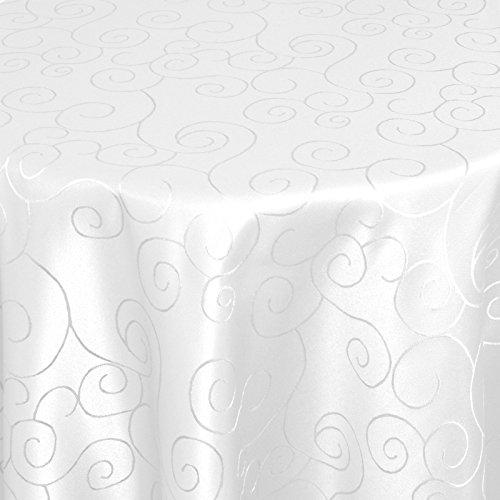 Tischdecke Damast Ornamente mit Saum, Eckig Oval Rund Größe und Farbe wählen - Premium Qualität - Ertex (Oval 140 x 190 cm, Weiß)