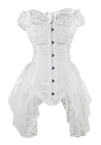 Charmian Women's Sexy Strapless Floral Embroidery Gothic Corset with Lace Skirt Weiß